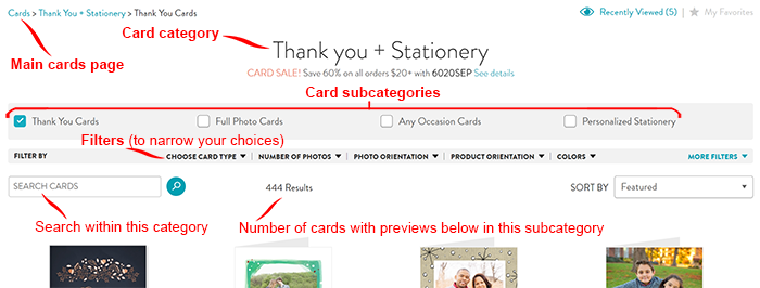Cards category page