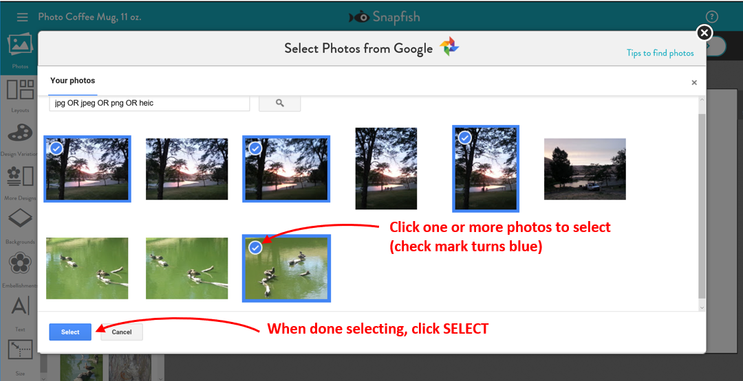 Selecting and uploading from Google Photos