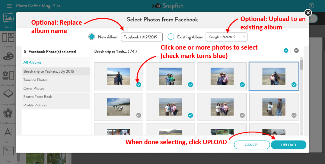 Selecting and uploading from Facebook