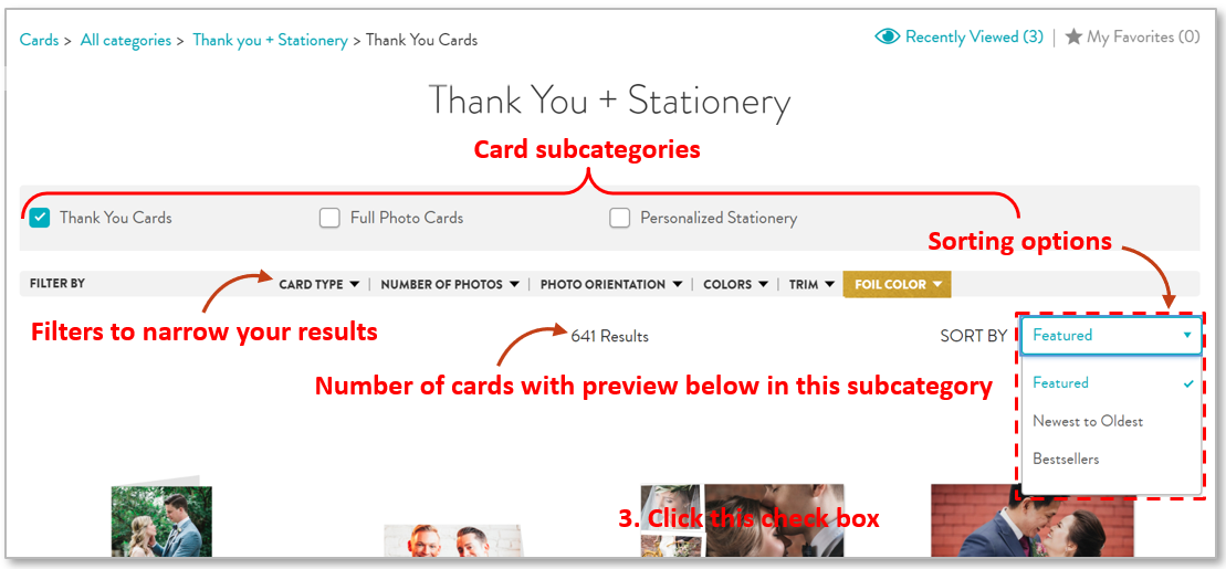 Card subcategory page
