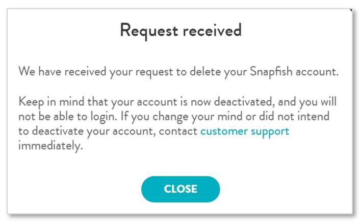 Delete account request received screen