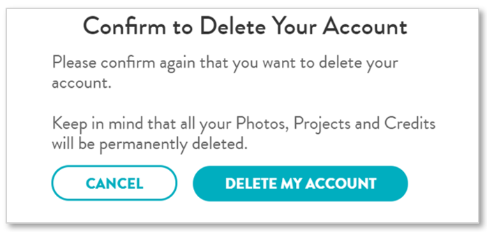 Delete your account confirmation screen