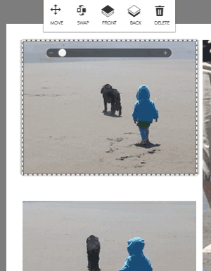 Photo edit tool bar in crop mode in the large prints builder