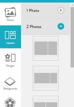 The page layout tool (organized by number of photos)