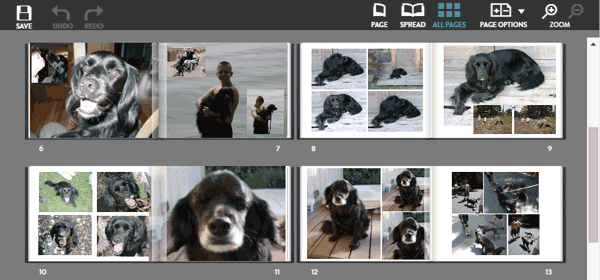 Moving around your photo book pages