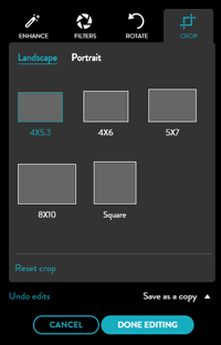 Crop your photo to common aspect ratios in the editing menu in the library