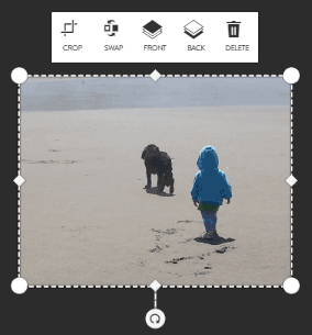 Photo edit tool bar in move mode in large prints builder