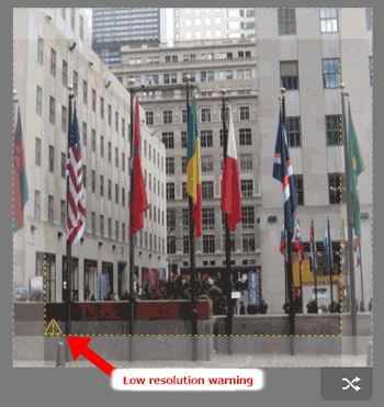 Low resolution warning at bottom of your photo workspace