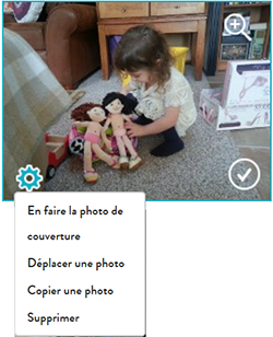 Options des photos pour les photos individuelles d'un album