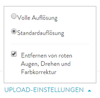 Upload-Einstellungen